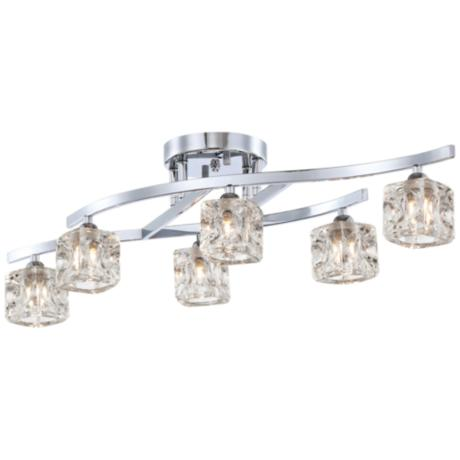 Possini Euro Chrome & Crystal Cube Semi-Flush Ceiling Light