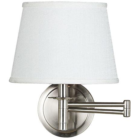 Kenroy Sheppard Brushed Steel Plug-In Swing Arm Wall Lamp