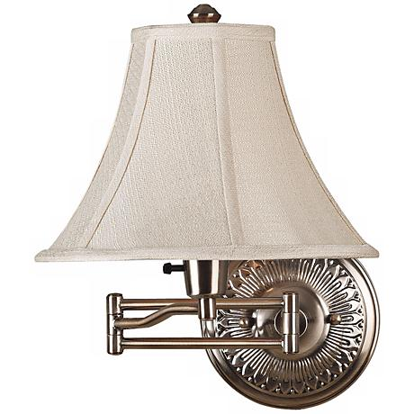 White Bell Shade Antique Brass Plug-In Swing Arm Wall Light - #37857-R2666 www.lampsplus.com