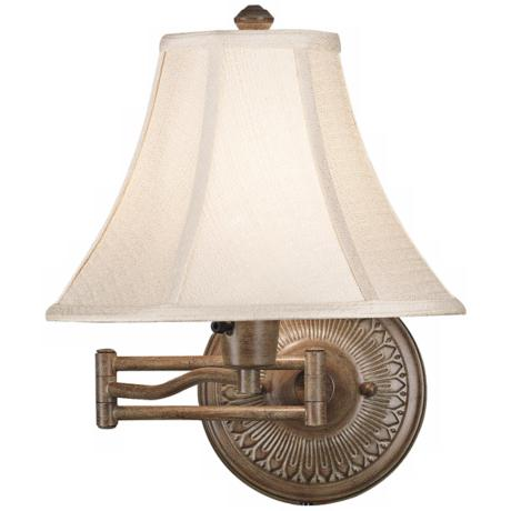 Kenroy Home Amherst Nutmeg Plug-In Swing Arm Wall Light