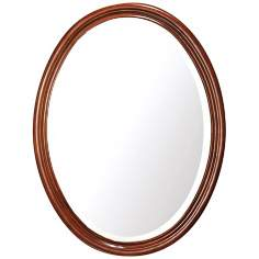 "Oxford Dark Oak 33 1/2"" High Oval Wall Mirror"