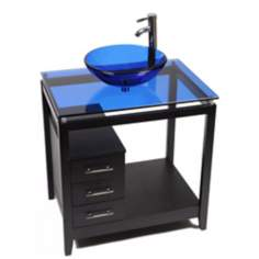 Cappuccino Cobal Blue Glass Top Contemporary Vanity