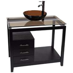 Cappuccino Tea Glass Top Contemporary Vanity
