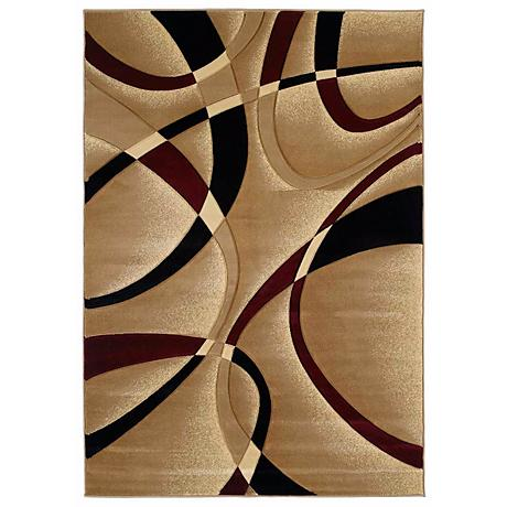 Mossa Collection Ribbons Burgundy Area Rug