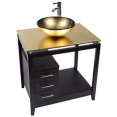 Cappuccino Gold Foil Glass Top Contemporary Vanity