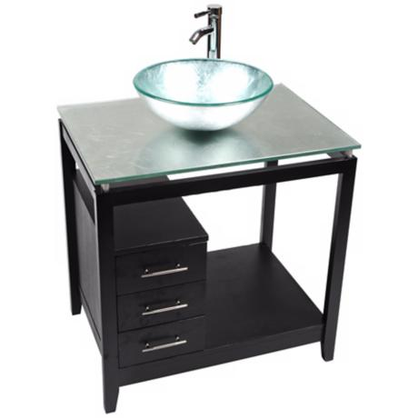 Cappuccino Silver Foil Glass Top Contemporary Vanity