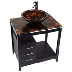 Cappuccino Tortoise Glass Top Contemporary Vanity