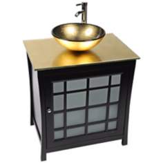 Panache Gold Foil Glass Contemporary Vanity