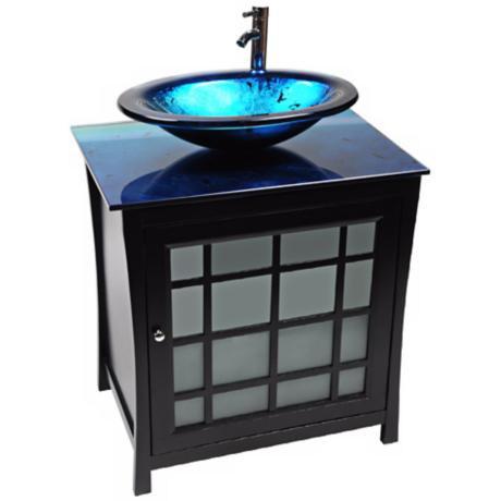 Panache Ocean Blue Glass Contemporary Vanity