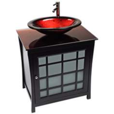Panache Red Lava Glass Contemporary Vanity