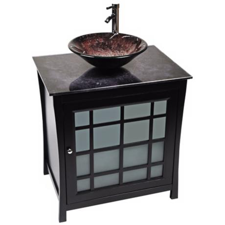 Panache Volcano Glass Contemporary Vanity