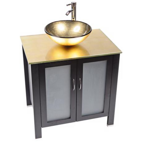 Waterhouse Gold Foil Glass Contemporary Vanity