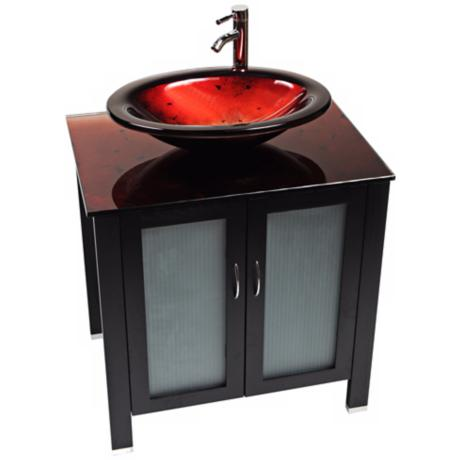 Waterhouse Red Lava Glass Contemporary Vanity