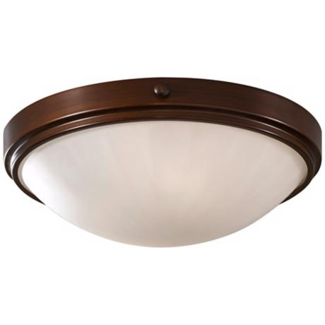 "Murray Feiss Perry Bronze 13"" Round Flush Ceiling Light"