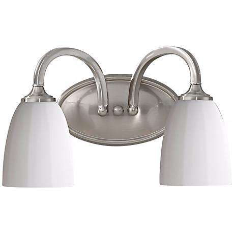 "Feiss Perry 14"" Wide Brushed Steel Bathroom Fixture"