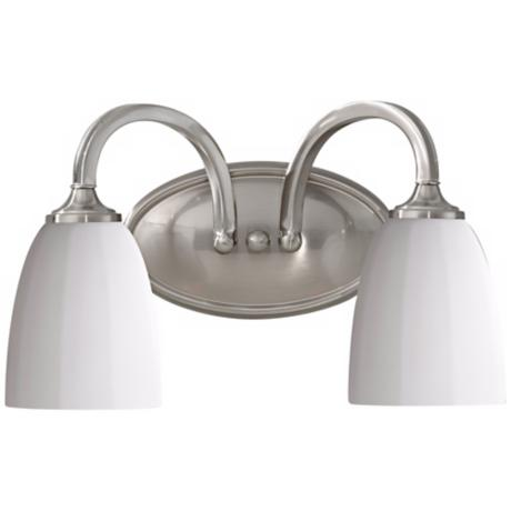 "Murray Feiss Perry 14"" Wide Brushed Steel Bathroom Fixture"