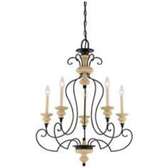"Quoizel Shelby Sand Bisque 26"" Wide Chandelier"