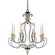 "Quoizel Shelby Sand Bisque 35"" Wide Chandelier"