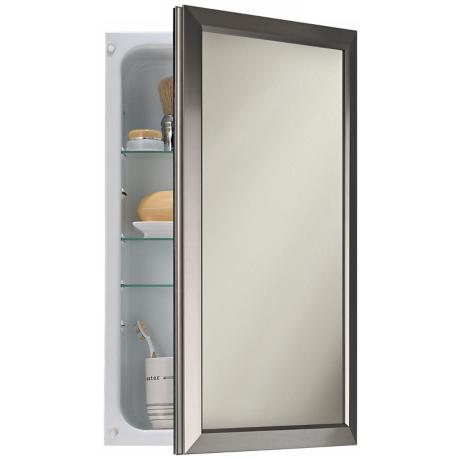 Broan Hampton Satin Nickel Frame Bathroom Medicine Cabinet