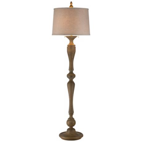 Turned Candlestick Faux Wood Floor Lamp