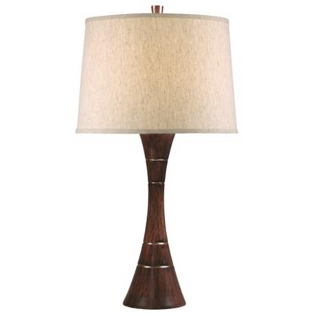 Tapered Wood Grain Column Table Lamp