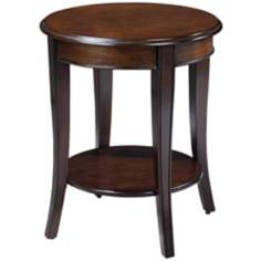 Round Burnished Walnut Finish End Table