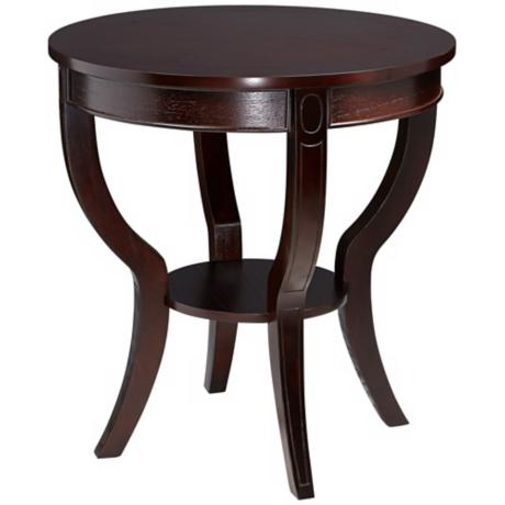 Round Espresso Round Wood End Table