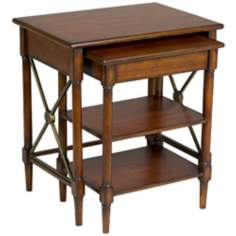 Set of 2 Stanley Brown Cherry Nesting Tables