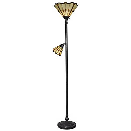 Dale Tiffany Jewel Torchiere Floor Lamp with Side Light