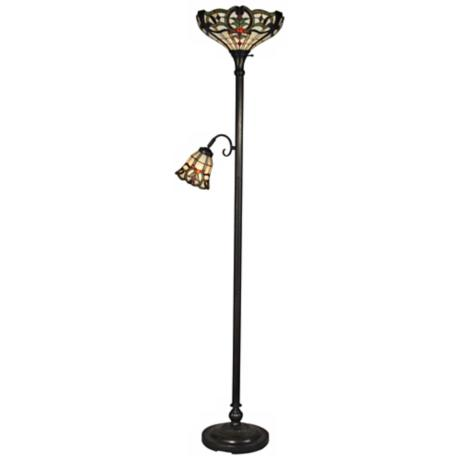 Dale Tiffany Union Torchiere Floor Lamp with Side Light