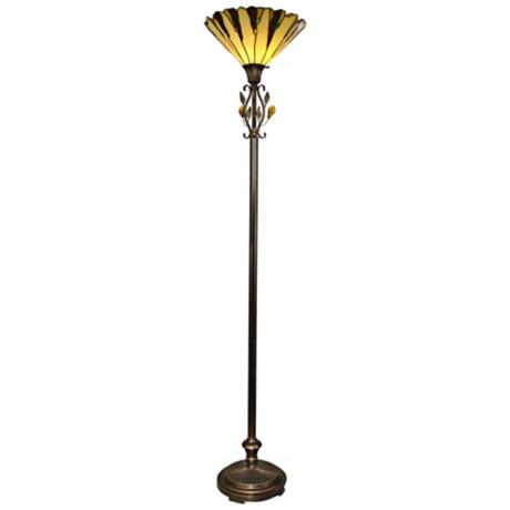 Dale Tiffany Crystal Leaf Torchiere Floor Lamp