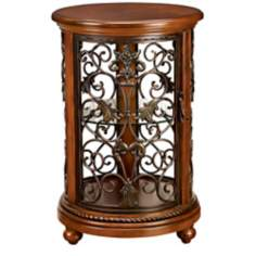 Florentine Round Wood And Iron Curio Cabinet