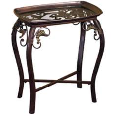 Glass Top Scroll Accent Table