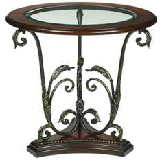 Gracia Metal Scroll Base End Table