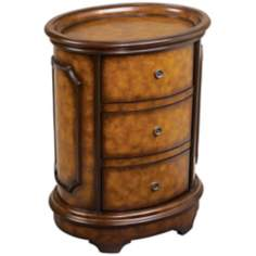 Bedford Walnut Finish 3-Drawer Oval End Table