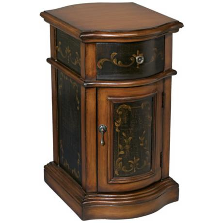Milliken Walnut Hand-Painted Detail Chairside Table