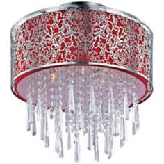 Maxim Rapture Red Satin Nickel Semi-Flush Ceiling Light