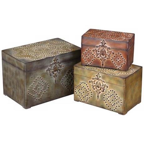 Storage boxes with nailheads