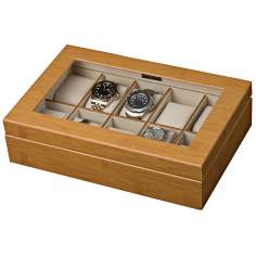 Mele & Co. Logan Glass Top Bamboo Watch Box