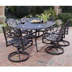 Biscayne Black 7-Piece Outdoor Table and Swivel Chairs Set