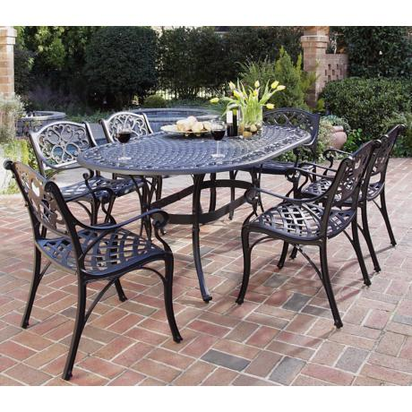 Biscayne Black 7-Piece Outdoor Table and Arm Chairs Set