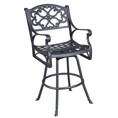 Biscayne Black Finish Swivel Outdoor Barstool