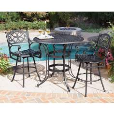 Biscayne Black 3-Piece Outdoor Bistro Table and Chairs