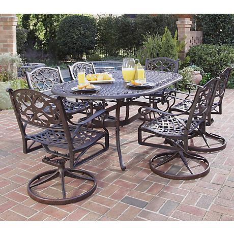 Biscayne Rust 7-Piece Outdoor Table and Swivel Chairs Set
