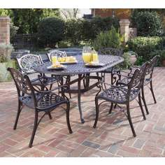 Biscayne Rust 7-Piece Outdoor Table and Arm Chairs Set