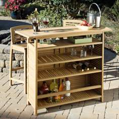 Bali Hai Teak Finish Outdoor Bar Cabinet