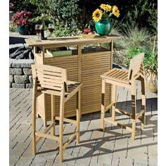 Bali Hai Teak Finish Outdoor Bar Cabinet  and Bar Stools