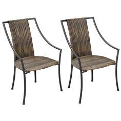 Laguna Walnut and Black Set of 2 Outdoor Dining Chairs