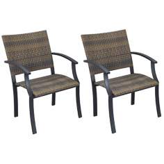 Newport Walnut and Black Set of 2 Outdoor Arm Chairs