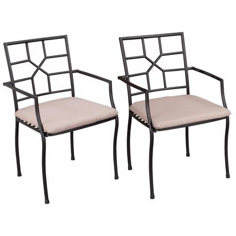 Set of 2 Cambria Black with Taupe Cushion Outdoor Arm Chairs